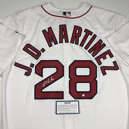 super popular 0d36b 1f651 Autographed/Signed JD J.D. Martinez Boston White Baseball ...