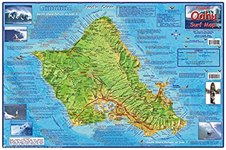 Amazon Com Franko Maps Oahu Hawaii Surfing Map Poster Laminated