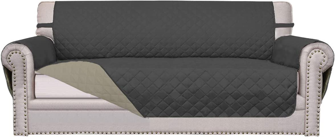 Easy-Going Sofa Slipcover Reversible Sofa Cover Furniture Protector Couch Cover Water Resistant Elastic Straps PetsKidsDogCat(Oversized Sofa,Darkgray/Beige)