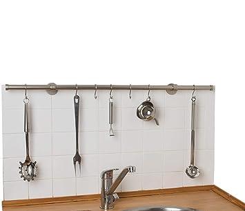 InCasa Porta Utensili da Cucina Ø 20 mm, L. 120 cm in Acciaio Satinato –  con Ganci