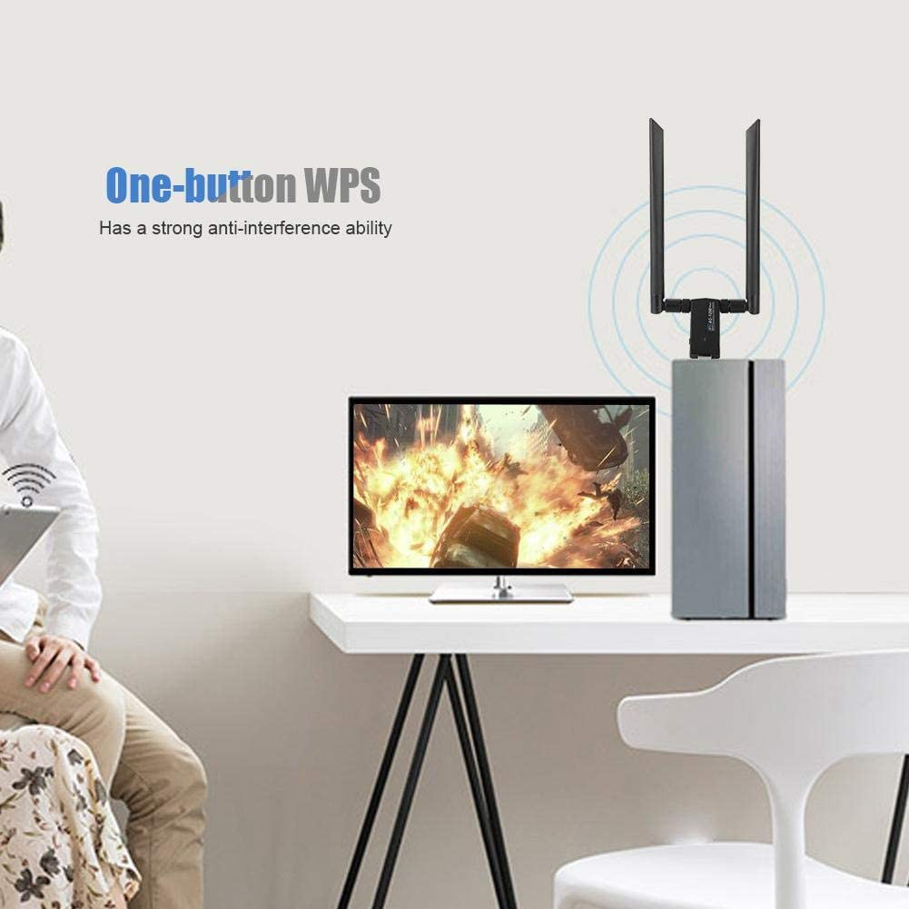 Zopsc Dual-Band WiFi Dongle Adapter Wireless Network Card for RTL8812AU Chip Support WPA//WPA2//WEP//802.1X//WMM Data Encryption.