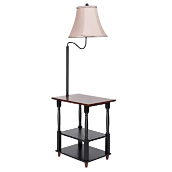 Floor Lamp With Built In Two Tier Black Table With Open Display Space