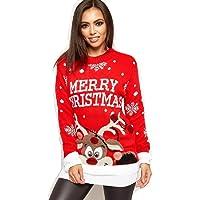 Crazy Girls Verrückte Mädchen Frauen Festliche Neuheit Frohe Weihnachten Gestrickte Pullover Damen Weihnachtsbaum Vintage Warme POM POM Rentier Jumper EU 36-54