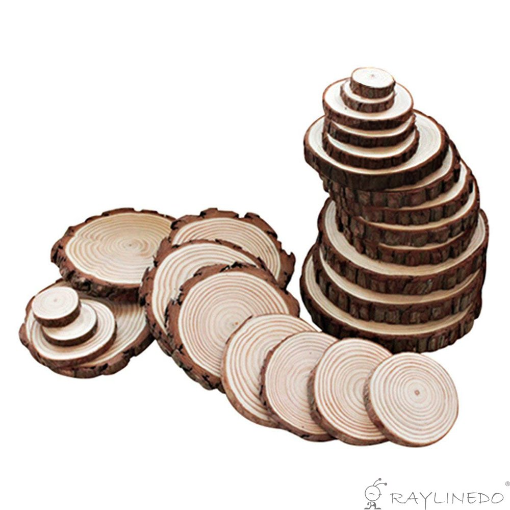 RayLineDo® Unfinished Natural Wood Slices Round Log Discs with Tree Bark Wood Pieces 5-6cm Pack of 20 for DIY Craft Wedding RAYLINE-DO