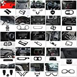 Hgcar Carbon Fiber ABS Car Accessories Cover Trim Set,Headlight Switch Cover,Steering Wheel Cover,Gear Shift Panel Cover for Jeep Wrangler JL 2018+(43pcs)