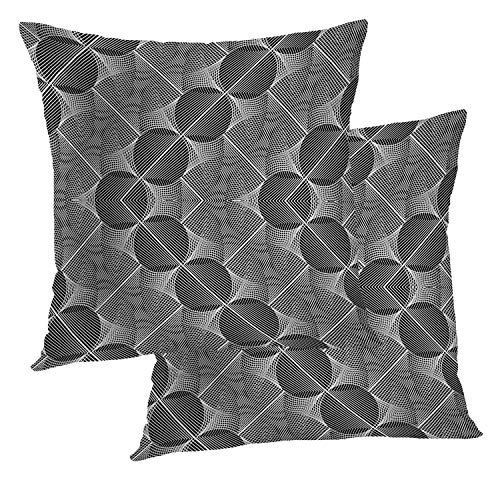 BaoNews Geometric Pillow Covers, Abstraction Design Monochrome Pattern Abstract Lines No GradientThrow Pillow Cover 18X18 Inch Cotton Square Cushion Decorative Pillow Case for Sofa Bed