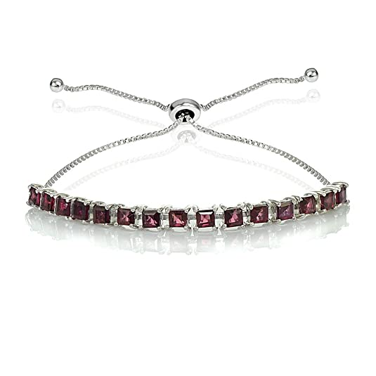 GemStar USA Sterling Silver Genuine or Simulated Princess-cut 3mm Adjustable Bolo Pull-string Tennis Bracelet Created