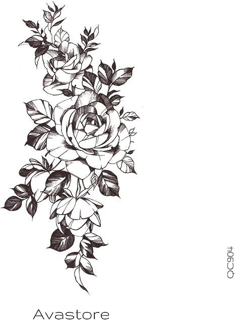Tatuaje Temporal Mujer dibujo de rosa tatuaje efímero rosa en ...