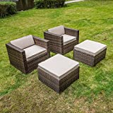 MAGIC UNION Rattan Wicker Outdoor Furniture Set Patio Cushioned Single Sofa With Ottman Sets of 2