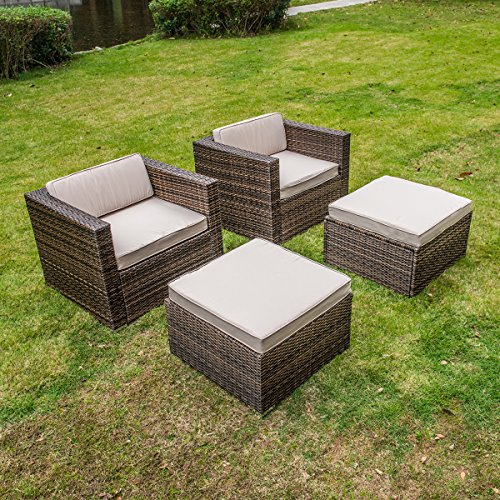 MAGIC UNION Rattan Wicker Outdoor Furniture Set Patio Cushioned Single Sofa With Ottman Sets of (Outdoor Chair Ottoman)