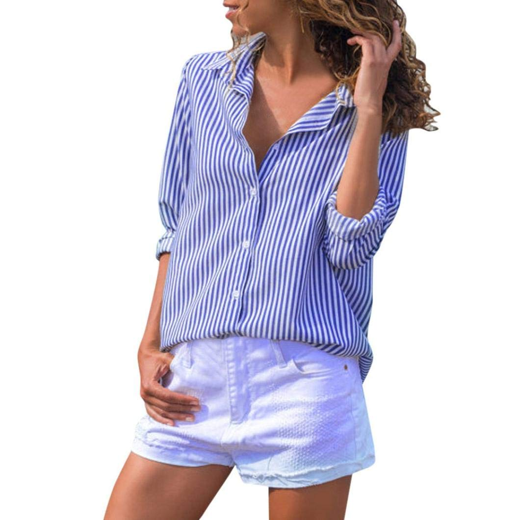 Blusas de Mujer,❤ Modaworld Moda Camiseta de Rayas Casuales para Mujer con Botones Playera Blusa de Manga Larga Tops Camisetas Vestir Outwear Camisas ...