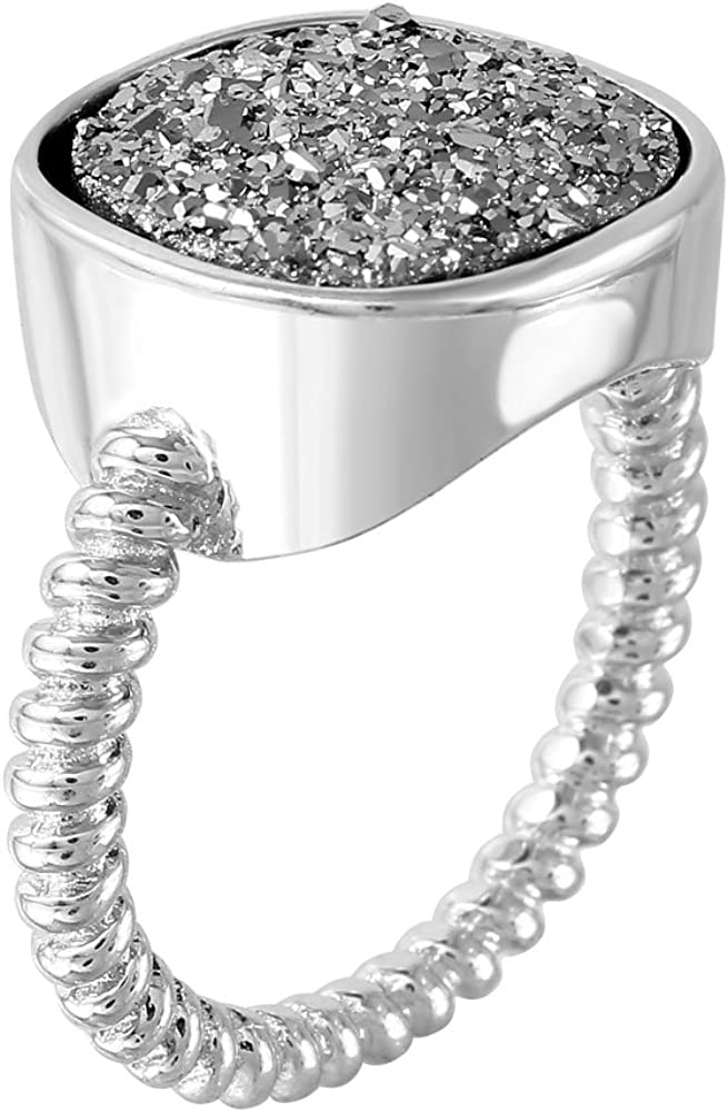 5 to Y 12 925 Sterling SILVER Natural Gemstone Black Drusy Druzy Ring; Sizes K