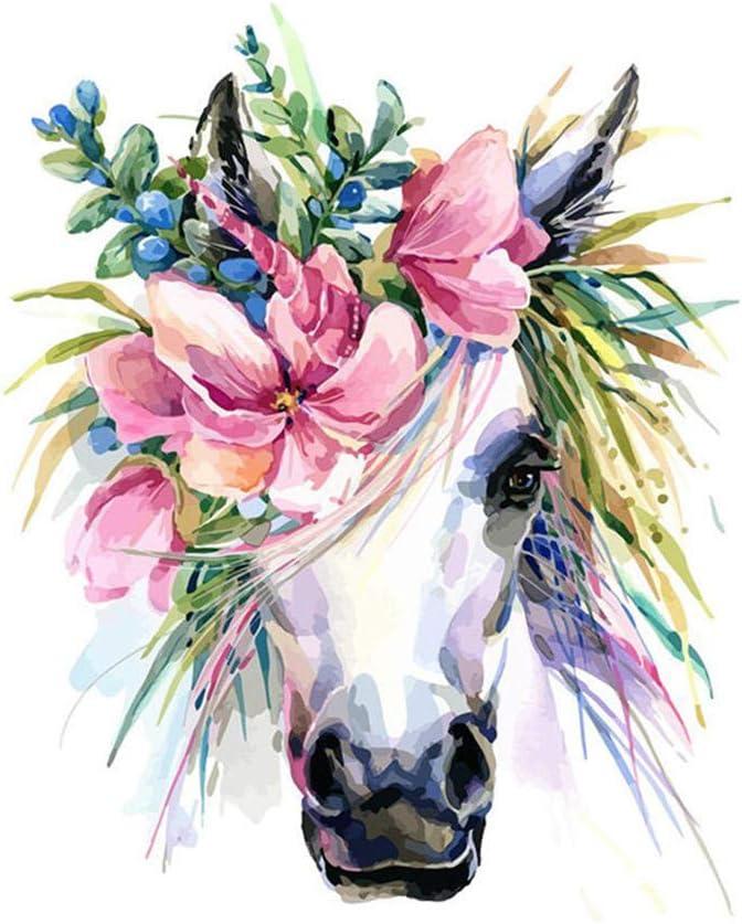 OKOUNOKO Pintura Por Conjunto Digital, Cabeza De Caballo Flor, Cuadro Para Colorear Lienzo, Decoración Del Hogar, Sin Marco 40X50Cm