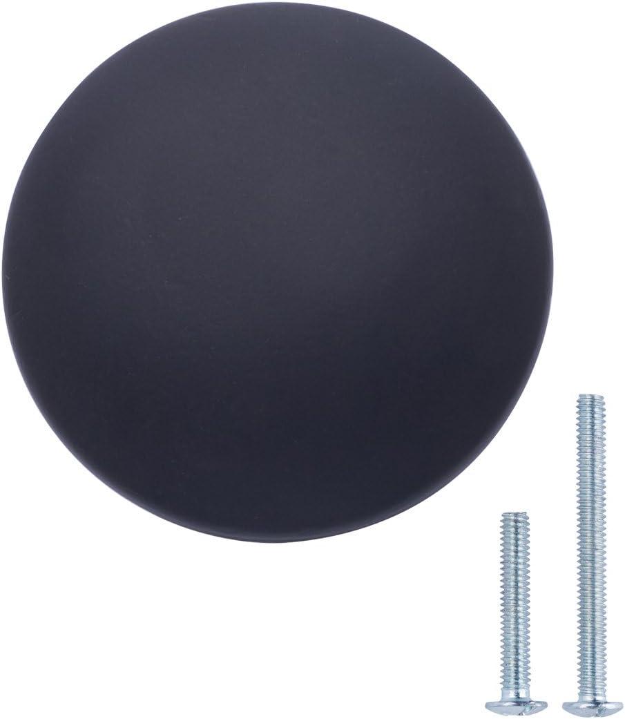 AmazonBasics - Pomo de armario redondo, 3,98 cm de diámetro, Negro liso, Paquete de 10