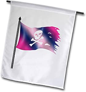 3dRose Anne Marie Baugh - Cute Illustrations - Pink and Purple Skull and Bones Pirate Flag Illustration - 12 x 18 inch Garden Flag (fl_324571_1)
