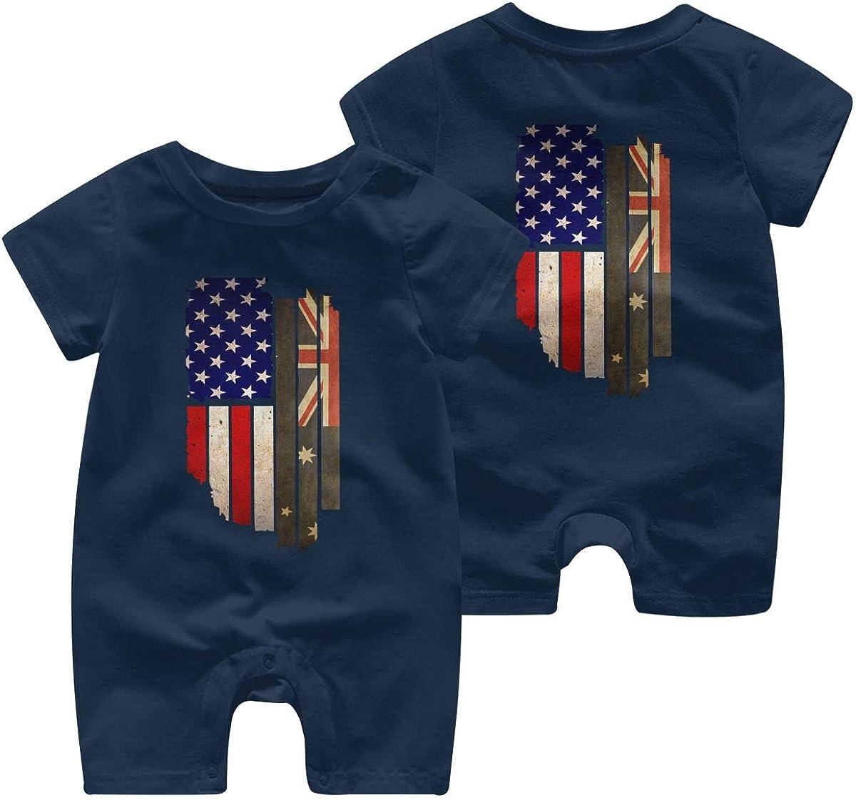 Newborn Kids Jumpsuit Vintage USA Australia Flag Baby Clothes