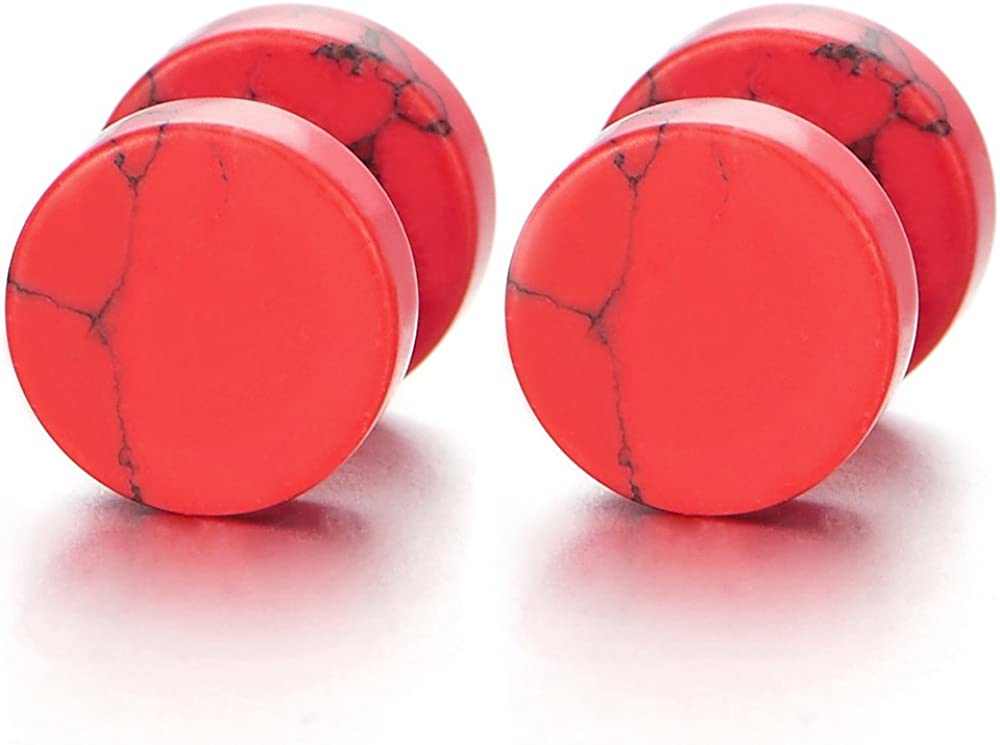 2pcs 10MM Marble Stud Earrings Men Women, Steel Cheater Fake Ear Plugs Gauges Illusion Tunnel