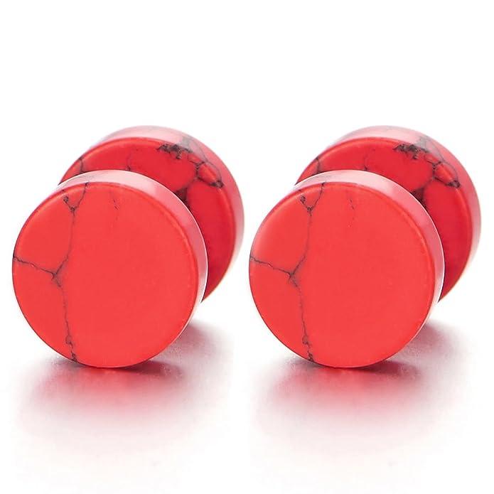 10MM Acero Inoxidable Enchufe Falso Fake Cheater Plugs Gauges, Rojo Mármol Pendientes de Hombre Mujer, Aretes, 1 Par: Amazon.es: Joyería