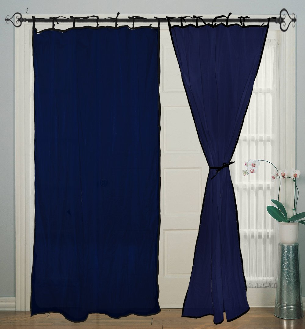 Tie Top Blue Piping Cotton Blue Curtain Panels for Door