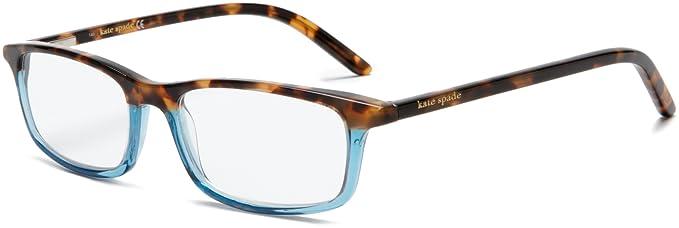 668d091396ff Kate Spade Women's Jodie HT10 Rectangle Reading Glasses,Havana Teal  Frame/Demo Lens,