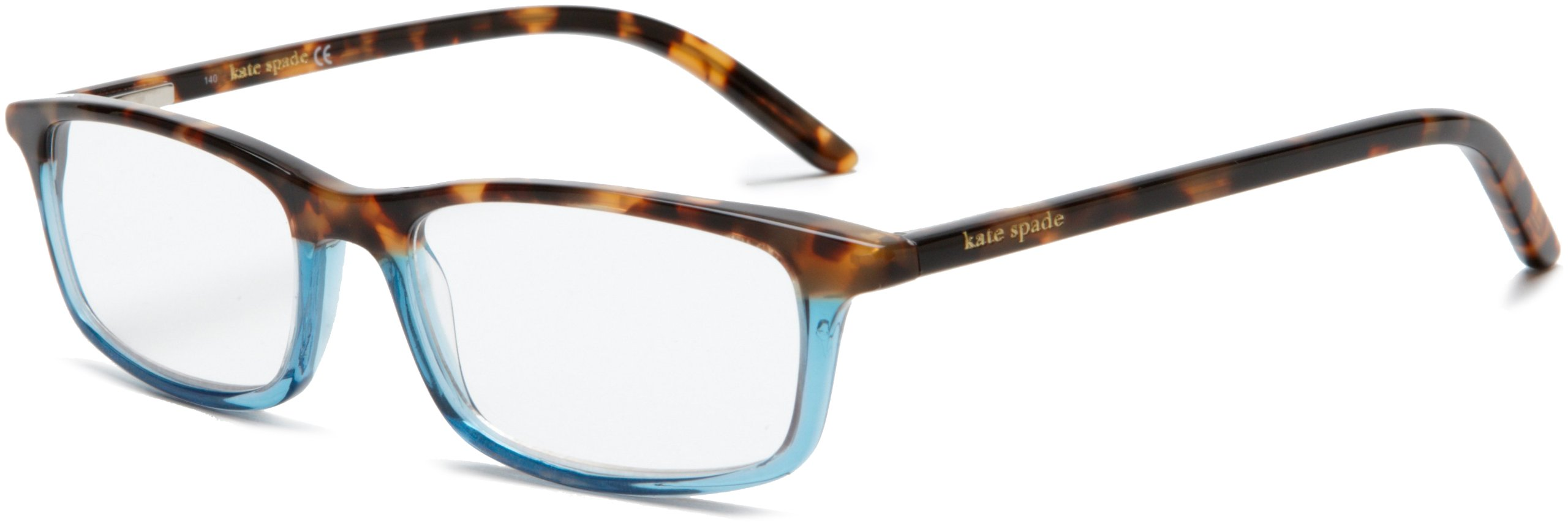 Kate Spade Women's Jodie HT10 Rectangle Reading Glasses,Havana Teal Frame/Demo Lens,1.00