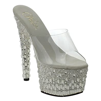 a8673c7daa5 Pleaser ADORE-701MR-5 Platform Slide with Glitters & Mirrors Clear ...