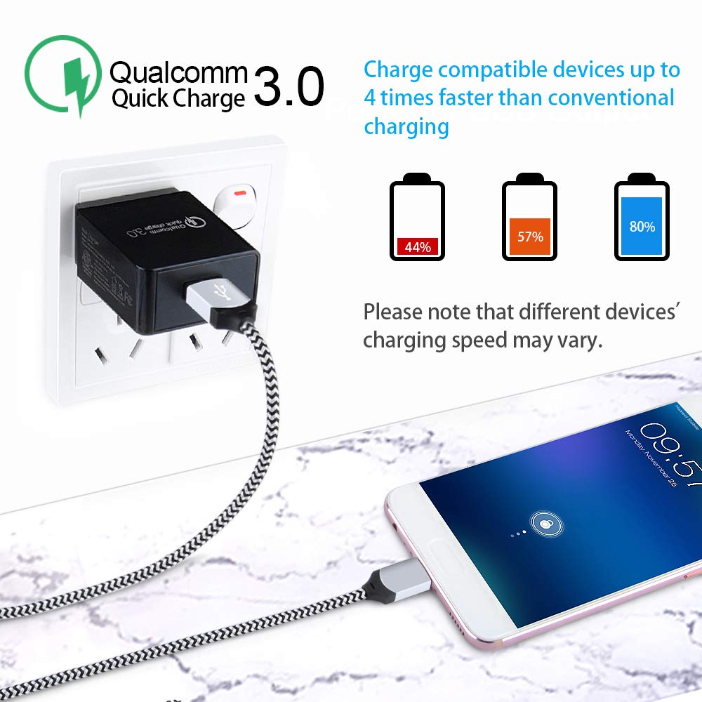 Quick Charge 3.4A USB Car Adapter with 3ft Type C Charging Cable Compatible for Samsung Galaxy A10e A20//A50//A70//A80 S10e S10 S9 S8 Plus USB Type C Car Charger LG V50 G8 G7 Thinq V40 V35 Note 10//9//8