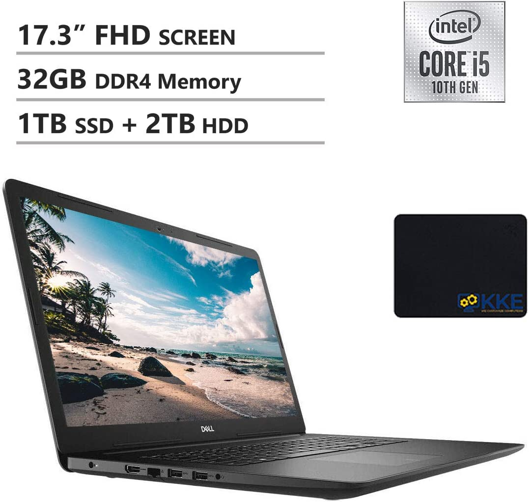 Dell Inspiron Premium 2020 17 3793 17.3'' FHD Laptop, Intel i5-1035G1, 32GB DDR4 Memory, 1TB PCIe Solid State Drive + 2TB HDD, HDMI, WiFi, Webcam, DVD Drive, Win 10, KKE Mousepad