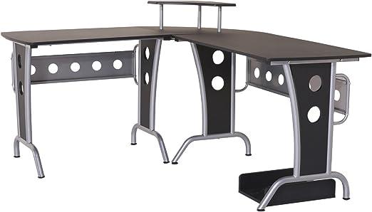 HOMCOM 2454140031 mesa de ordenador madera negro 165x145x86cm ...