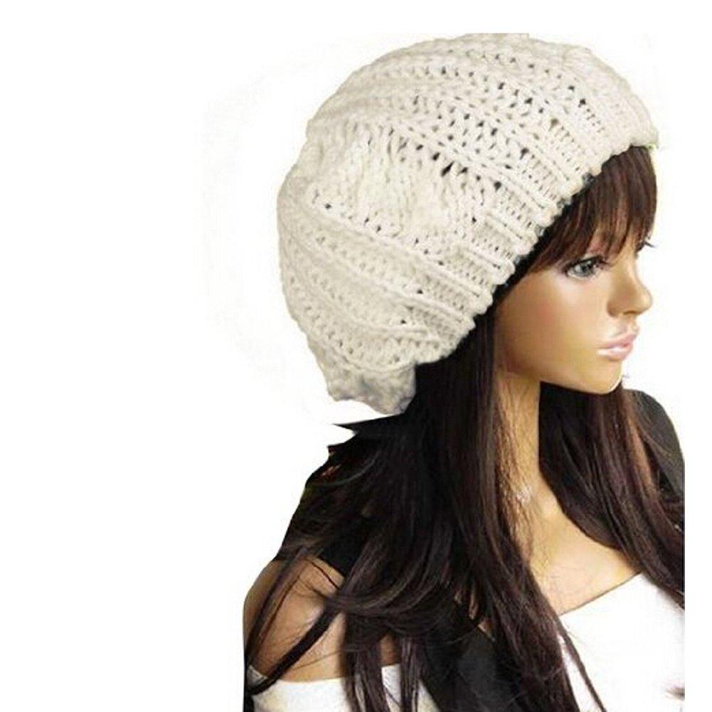 Amazon.com: WAWO Women Beret Braided Baggy Beanie Crochet Knitting ...