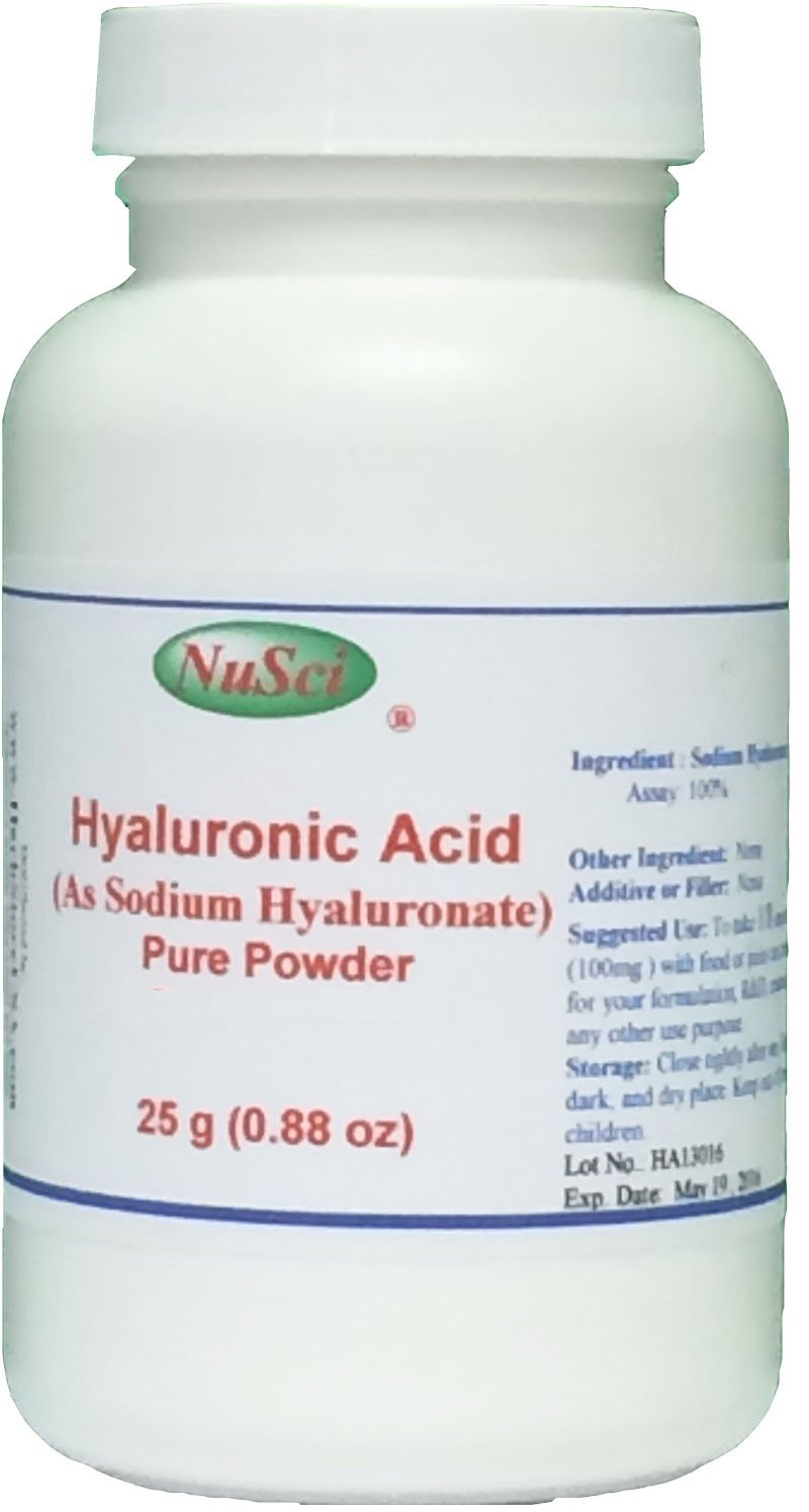 NuSci Pure Hyaluronic Acid HA Sodium Hyaluronate Powder (25 grams (0.88 oz))