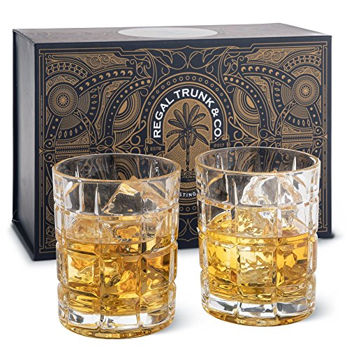 (Regal Trunk & Co. Whiskey Glass Set | 2 Cocktail Whiskey Glasses in a Spectacular Gift Box | Old Fashioned Lead Free Glass Whiskey Tumblers for Whisky Bourbon Scotch or Rum | Square Engraved 10 Oz)