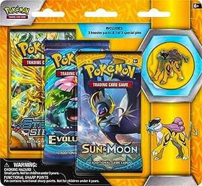 Pokemon TCG: Sun & Moon Guardians Rising 3 Pack Blister, Featuring Raikou Collector's Pin