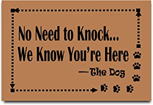 "Doormats No Need to Knock We Know You're Here Doormat Dog Theme Entrance Floor Mat Decorative Indoor Outdoor Door Mat 23.6"" x 15.7"""