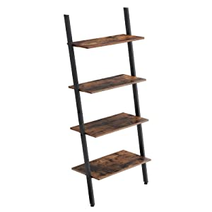 VASAGLE Industrial Ladder, 4-Tier Bookshelf, Shelf for Living Room, Kitchen, Office, Iron, Stable, Sloping, Leaning Against The Wall, Rustic Brown ULLS43BX