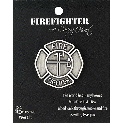 (A Caring Heart Firefighter Stamped Metal Car Auto Visor Clip)