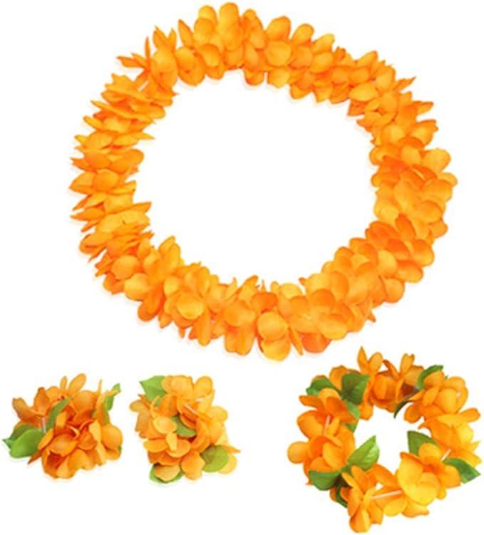 Hawaiian Lei Party Luau Haku Head Band Elastic Royal Orange Plumeria