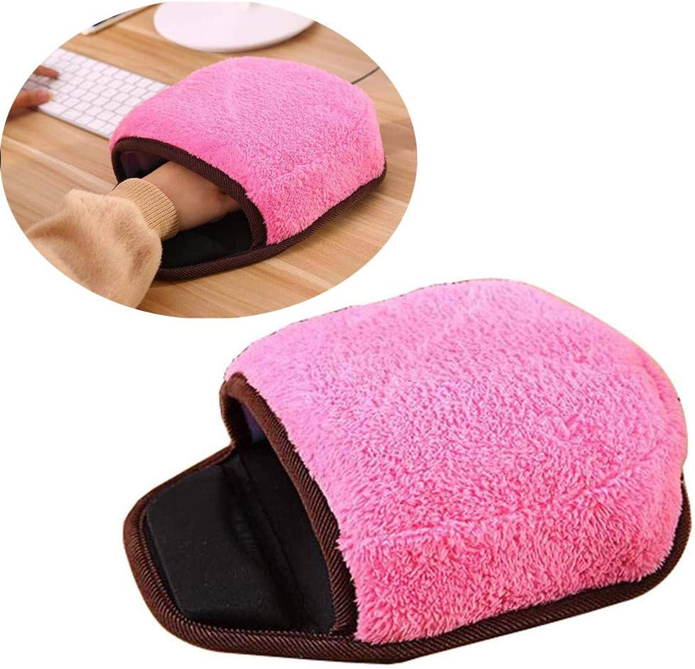 DONGXIEHYS USB Heated Mouse Pad Mat Warm Winter Pink Plush Hand Warmer with Wristguard