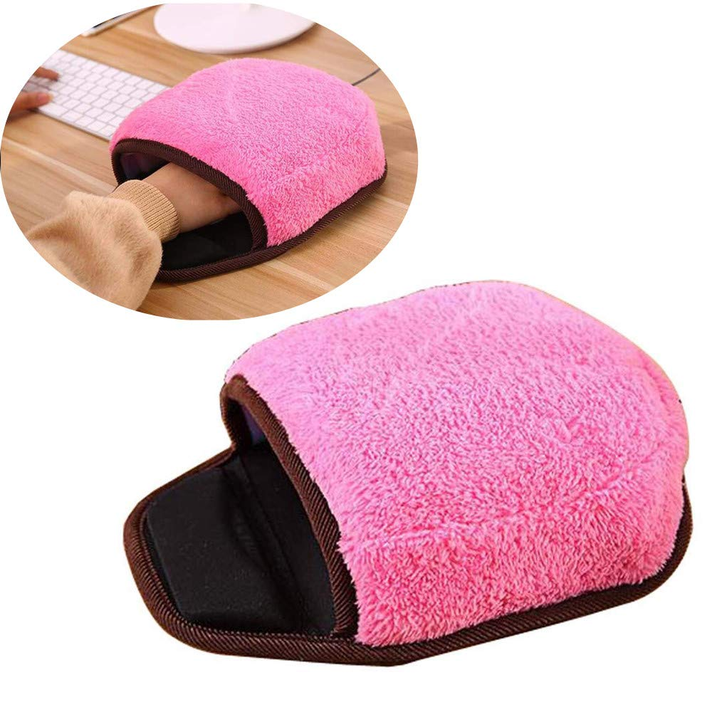 Fullfun USB Heated Mouse Pad Mat Winter Warm Plush Hand Warmer with Wristguard … (Pink)