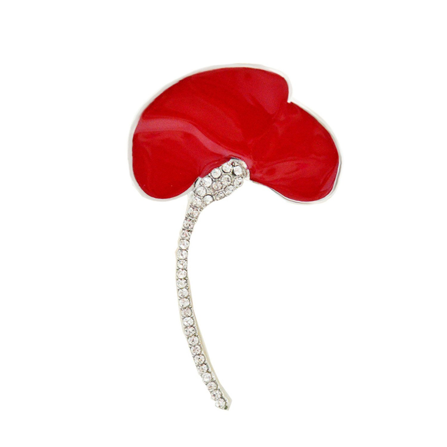 Vintage Red Poppies Brooch Rhinestone Brooches Pin Flower Alloy Brooch Party Gifts