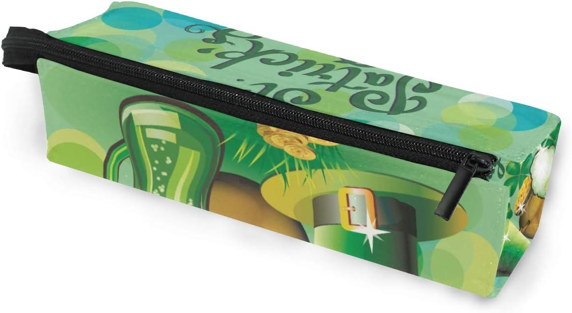 Estuche de bolsa de lápiz Gafas de sol Happy St Patrick Day Lucky Trébol de cuatro hojas Cosmético Estudiantes Papelería Bolsa Cremallera para niñas Niños: Amazon.es: Oficina y papelería