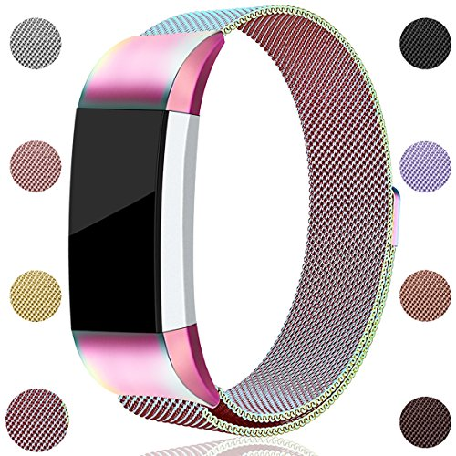 Maledan for Fitbit Charge 2 Bands, Stainless Steel Milanese Loop Metal Replacement Accessories Bracelet Strap with Unique Magnet Lock for Fitbit Charge 2 HR Colorful Large