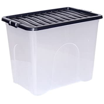 Crazygadget Large Big Plastic Storage Clear Box With Lid Strong