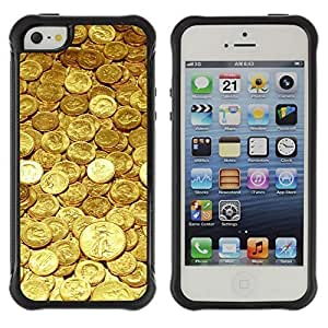Hybrid Anti-Shock Defend Case for Apple iPhone 5 5S / Gold Coins Money