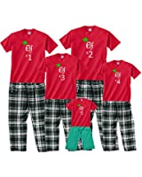 Santa's Elf #1, #2, #3, etc. Matching Christmas Outfits for the Whole Family; Choose Kid, Adult, or Dog