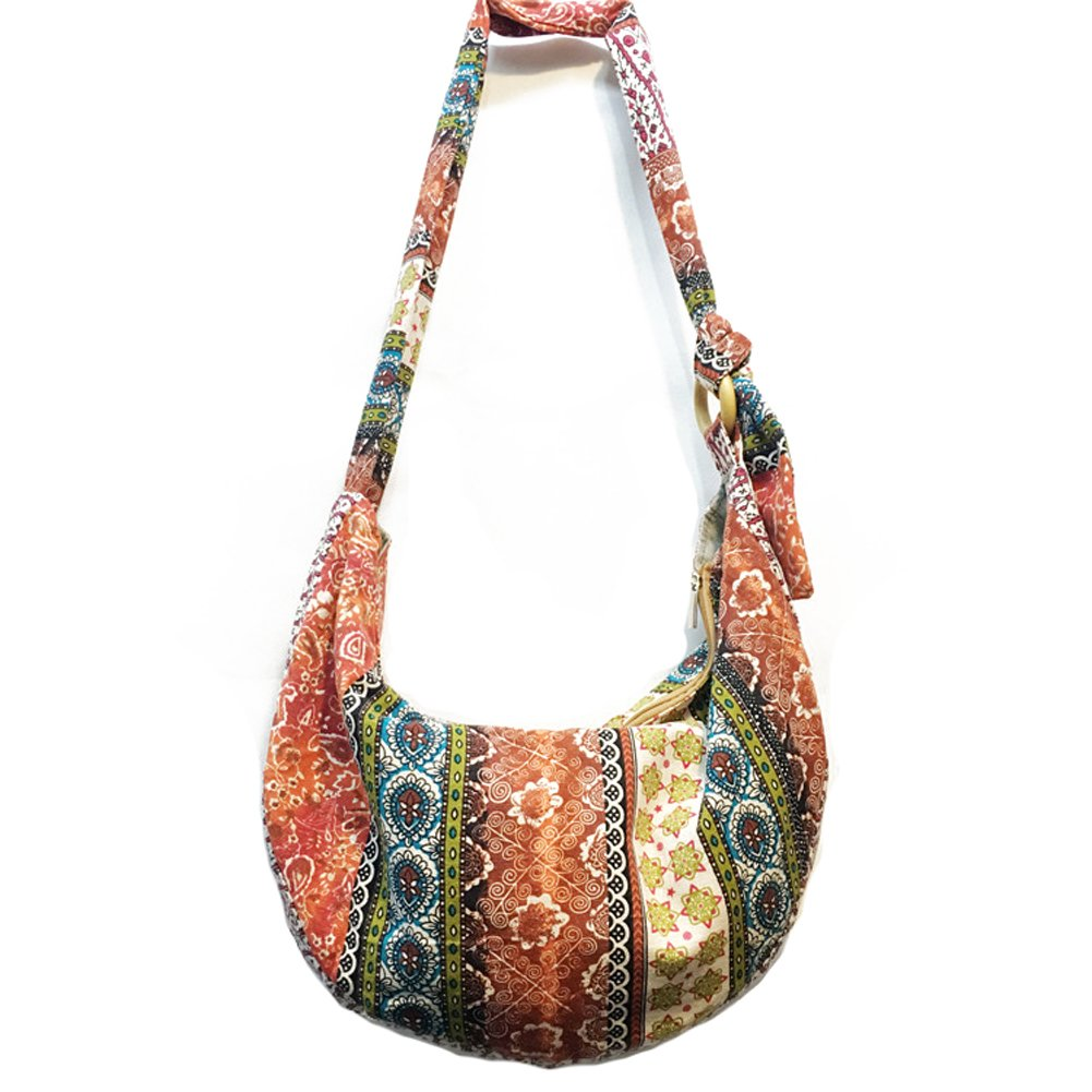 KARRESLY Large Bohemian Hippie Thai Top Zip Handmade Hobo Sling Crossbody Bag Purse Paisley Print with Adjustable Strap(3-511)