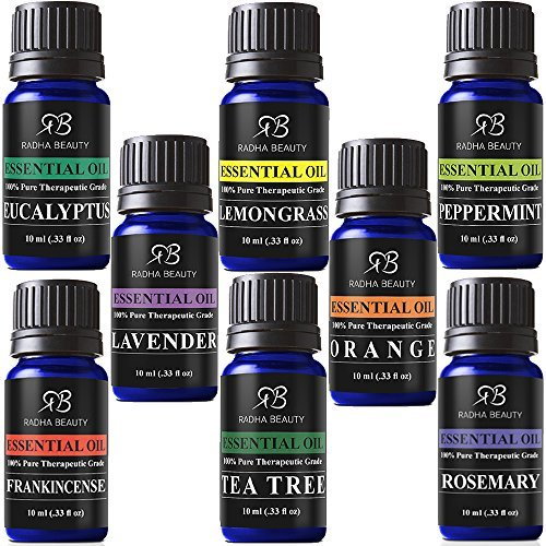 Radha Beauty Aromatherapy Top 8 Essential Oils 100% Pure & Therapeutic grade - Basic Sampler Gift...