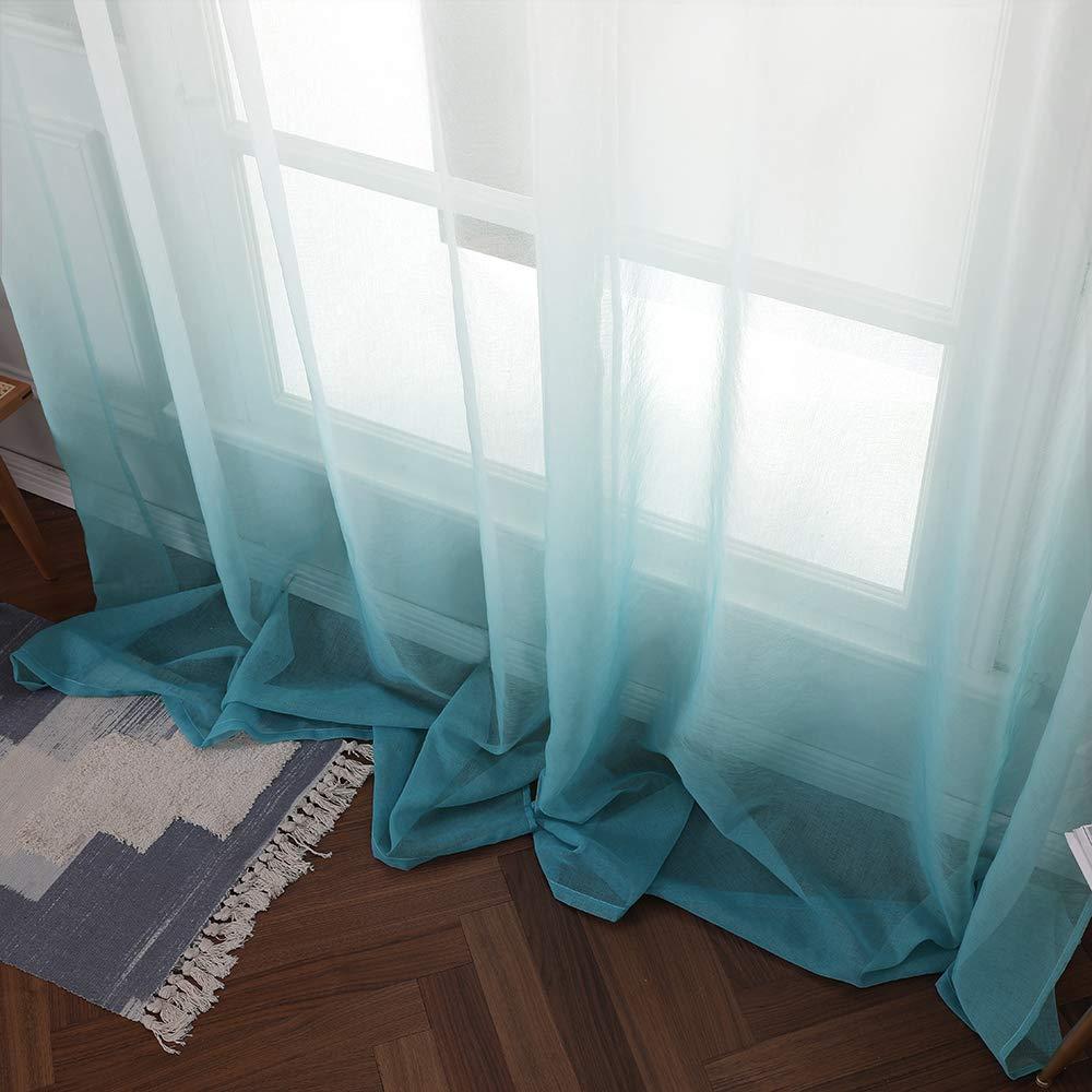 MIULEE Cortina Transl/úcida Visillo Gradiente Color Degradado Dos Paneles de Ojales Plateados Gasa para Ventanas Habitacion Dormitorio Cocina Sala de Estar 140x175cm Gradiente Vertical Marr/ón