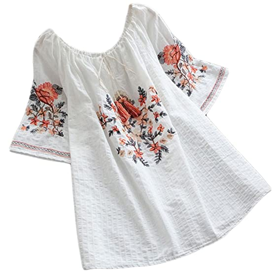Asher fashion women summer cotton short sleeve floral embroidered asher fashion women summer cotton short sleeve floral embroidered blouse tops white mightylinksfo
