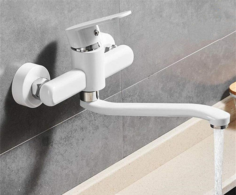 White FZHLR Mop Pool Faucet Black White Kitchen Tap Brass Sink Faucet Wall Mounted 360 Swivel Single Handle Washing Basin Hot Cold Mixer Tap,Black